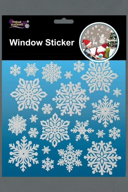 Glitter Snowflake Window Stickers Pack Christmas Decorations